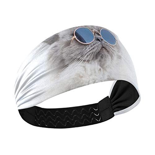 Headbuds Divertido gato posando en gafas de sol mujeres diademas para el cabello con cinta elástica antideslizante para correr, fitness, baloncesto, baile, se adapta a todos los hombres y mujeres