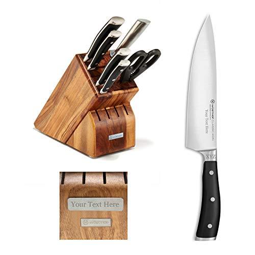 Wusthof Classic Ikon - 7 Pc. Knife Block Set - Acacia - Custom Engraved - Personalized