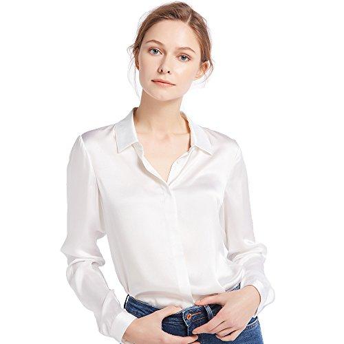 LilySilk Damen Hemdbluse Seide Sommerliche Damenbluse Shirt mit verdeckter Knopfleiste von Vintage Oberteile (Brillantweiß, M) Verpackung MEHRWEG