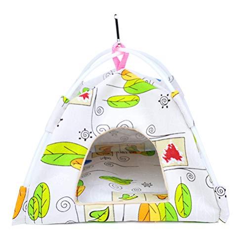 Yurika インコおもちゃ 鳥用 ベッド おしゃれ 鳥 かご おやすみ 吊り下げ式 寝床 布製 両面可用 バードテント セキセイインコ 小鳥用 鳥の理想的な遊び場 四季通用 (L: (28*28*28cm),葉柄)