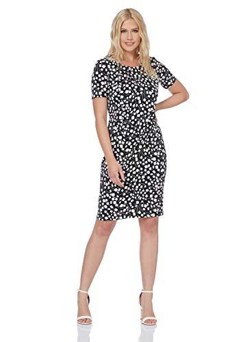 Roman Originals Damen Shift-Kleid mit quadratischem Print - Damen Elegante, formelle, knielange Kleider mit kurzen Ärmeln für Arbeit, Vorstellungsgespräch, Büro, Business - Schwarz - Größe 48