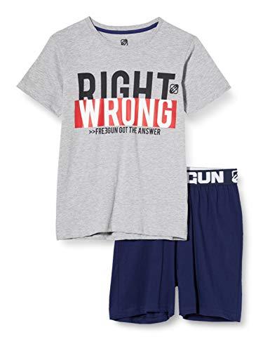 Freegun EG.fgred.psh1.MZ Pijama, Gris (Gris Chine/Marine Gris Chine/Marine), 12 años para Niños