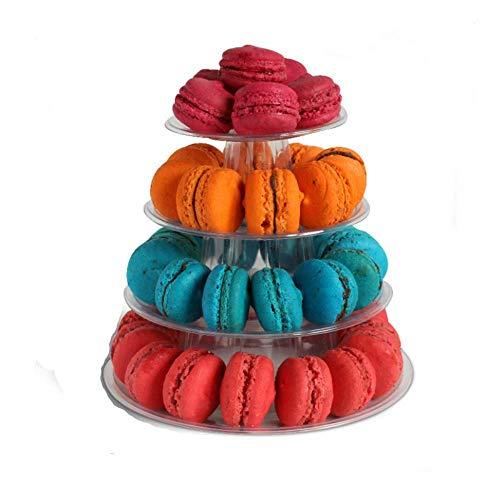 Runder Macaron-Turm, 4-stöckig, Tortenständer für Hochzeit, Geburtstag, Party, Dessert, Tortenplatte