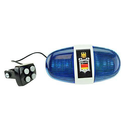 Toi-Toys 55008A - Fahrradlampe Polizei, Polizeilicht für Kinder mir Sirene und Blaulicht