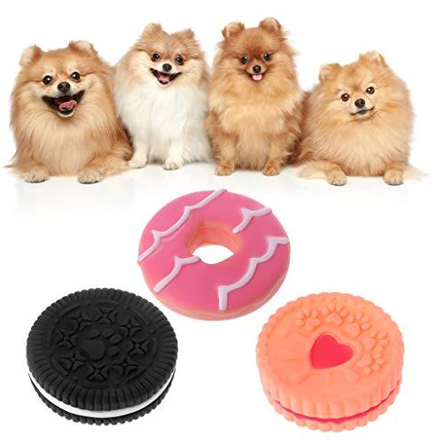 ecmqs juguete para perro–forma de galleta juguete perro cachorro goma sonido accesorios interactivos juguetes de mascar limpieza de la dent negro
