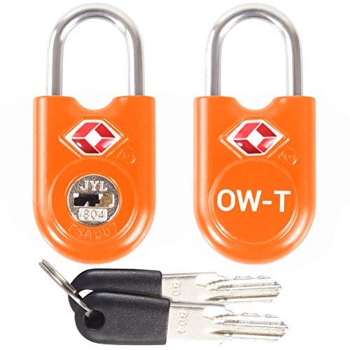 TSA Approved Luggage Locks Padlocks (2 Pack) OW-Travel Suitcase Locks with Keys. Heavy Duty Zinc Alloy Suitcase Padlocks with Key Lock for Luggage, Bag, Case, Backpack, Rucksack, Gym Locker (Orange)
