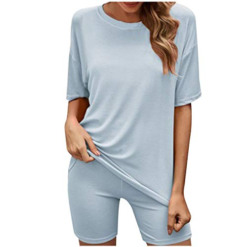 Pistaz Conjunto deportivo para mujer, monocolor, cuello redondo, manga corta, leggings de fitness, juego de puños elásticos para las piernas, pantalones de casa, 2 piezas azul M