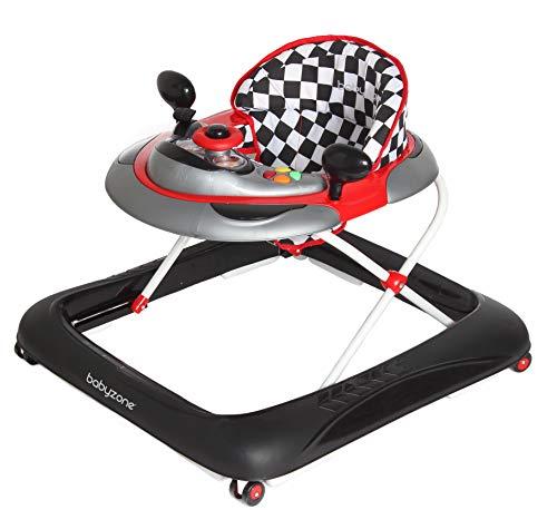 Girello a norma START con piatto giochi luci e suoni, pratico leggero e colorato - regolabile in altezza, adatto dai 6 mesi circa ai 12 kg (rosso e nero)