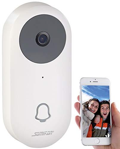 Somikon Türklingel Kamera: WLAN-HD-Video-Türklingel mit App, Gegensprechen, 156°-Bildwinkel, Akku (Klingel mit Kamera)