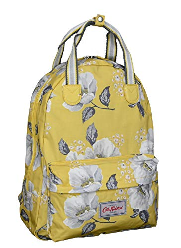 Cath Kidston Mid Wild Poppies Backpack Rucksack in egg yolk oilcloth