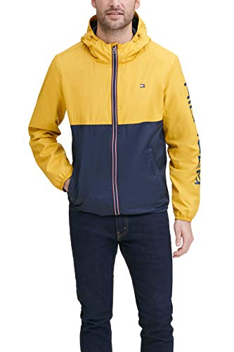 Tommy Hilfiger Men's Lightweight Active Water Resistant Hooded Rain Jacket, Yellow/Navy Colorblock, Medium