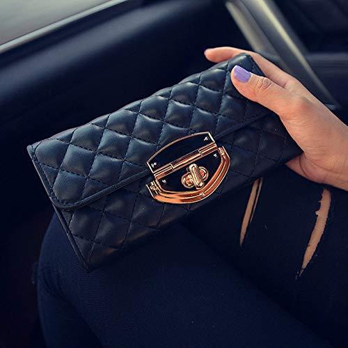 OIJSGP Damenbrieftasche Damen Lange Brieftasche Frauen Neue Mehrzweck Lederhandtasche Handtasche geheime Karte Tasche Flut Ordner, schwarz