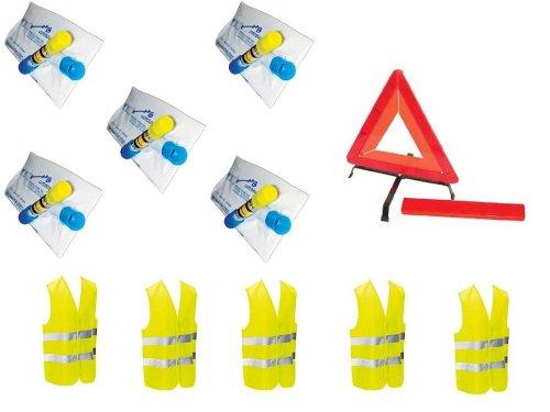 Kit camionnette sécurité : 5 éthylotets + 1 triangle de signalisation + 5 gilets jaunes EN471
