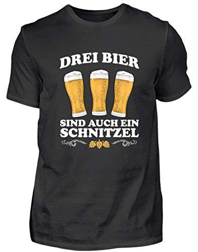 EBENBLATT DREI Bier sind EIN auch Schnitzel lustig Bier Bierkrug Geschenk für Saufer - Herren Premiumshirt -M-Schwarz
