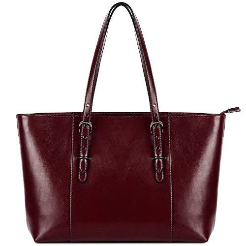 Bolso de Hombro de Mujer, YALUXE Bolso Tote Shoppers Moda Gran Capacidad de Cuero Genuino con Compartimiento de Laptop(Burdeos)