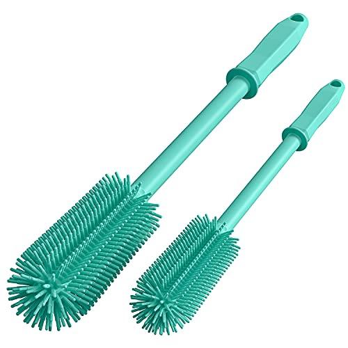 COOKLEE 2 Pack de cepillos de limpieza de botellas de silicona con mango largo y corto, cepillo limpiador de botellas de agua para biberones, jarrones, cristalería, botellas de agua, tazas de café, recipientes de limpieza cepillo (verde)