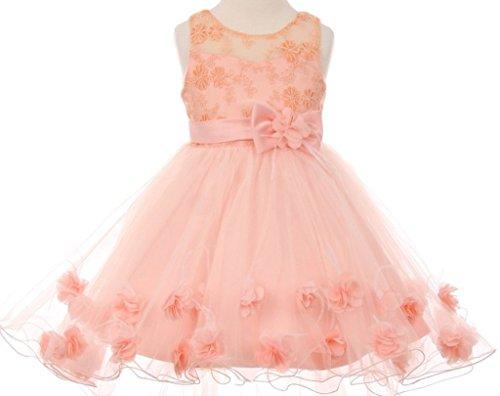 BNY Corner Flower Girl Dress High Low Skirt with 3D Flower Deco for Big Girl Peach 12 CC.9009