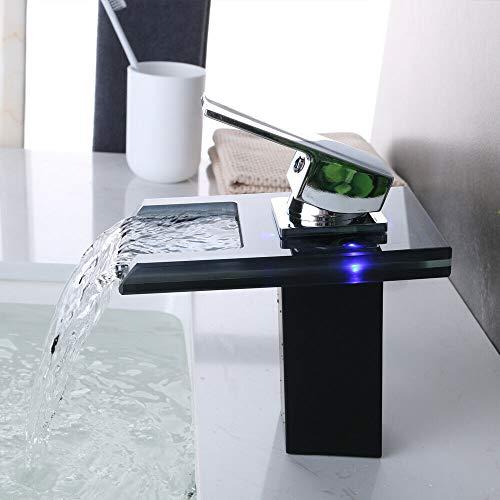 Berkalash Grifo LED con indicador de temperatura para lavabo, cascada, cristal gris, superficie cromada