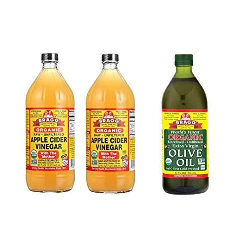 Bragg Organic Raw Unfiltered Apple Cider Vinegar 32 Oz Pack of 2 and Bragg Organic Extra Virgin Olive Oil – Made with Greek Koroneiki Olives 32 Oz Bundle