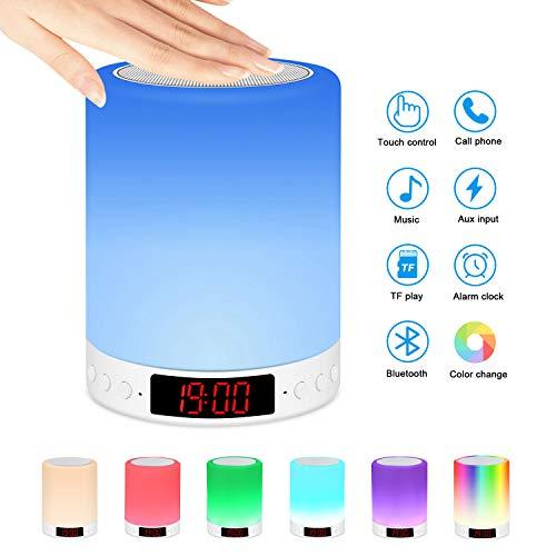 Nachttischlampe mit Bluetooth-Lautsprecher, 7 Farbwechsel Dimmbar Stimmungslichter Lichtwecker, LED Nachtlicht mit Berührungssensor/Wecker/Uhr/FM/TF Karte Slot, USB aufladen für Erwachsene Kinder