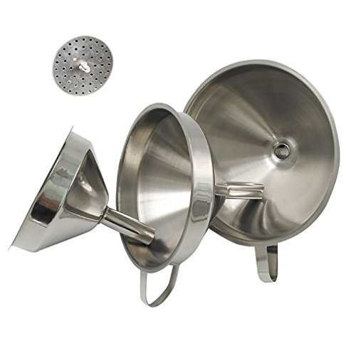 Hivchinge 3 Pieces Stainless Steel Strainer Funnel Set with Handle and Removable Strainer 3 Sizes Funnels for Beer, Oil, Transferring Liquid, Fluid, Dry Ingredients & Powder, Dishwasher Safe