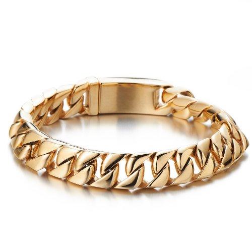 COOLSTEELANDBEYOND Große Schwere Goldene Panzerkette Armband für Herren Edelstahl-Armband Hochglanzpoliert 22CM