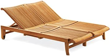 Grade A Teak Multi Position Sun Double Chaise Lounger Steamer With Slide Out Tray Furniture Only Giva Collection Whchgv2 Kitchen Dining