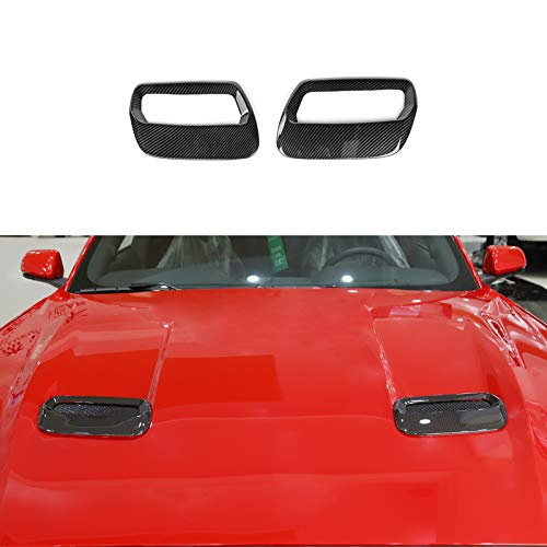 RT-TCZ ABS Hood Engine Air Vent Outlet Trim Cover Interior Accessories for Ford Mustang 2018 2019 2020, 2 PCS (Carbon Fiber Grain)