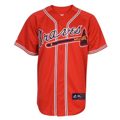 MLB Herren Atlanta Braves Chipper Jones Scarlet Alternate Short Sleeve 6 Button Synthetic Replica Baseball Jersey (Scarlet, Large)