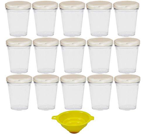 Viva huishoudelijke artikelen - 15 x kleine bekerglas/jampglas 80 ml met zilverkleurig deksel, voorraaddozen set als inmaakpotten, kruidenpotjes, voor cake in het glas etc. bruikbaar (incl. trechter)