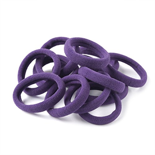 XIMA 60pcs Nylon Elastic Hair Ties Hair Ties Bands Rope No Crease Elastic Fabric Large Cotton Stretch Ouchless Ponytail Holders (60pcs-Purple(HT007-13))