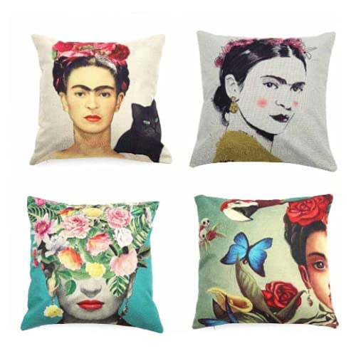 Qazespen Funda de Almohada Colorida para Frida Kahlo Funda de cojín de decoración súper Suave para sofá de Coche Funda de Almohada 45 * 45cm