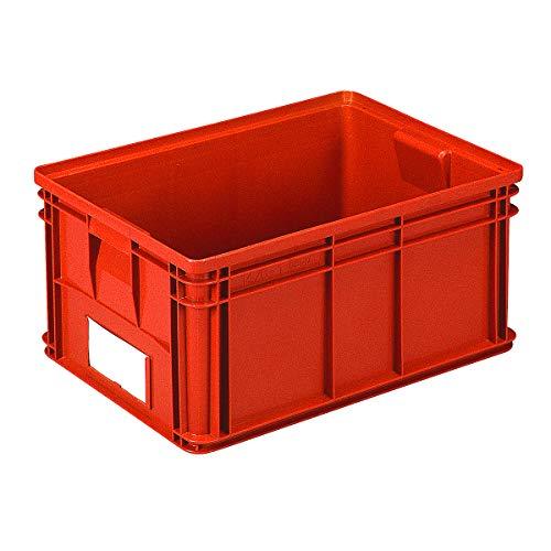 Bac de manutention gerbable - L x l x h 650 x 470 x 300 mm - coloris rouge, lot de 3 - bacs bacs de transport bacs de transport gerbables bacs gerbables Bac Bac de stockage Bac en plastique Bac