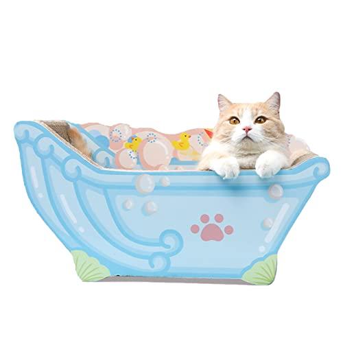 猫 爪とぎ バスタブ型 かわいい つめとぎ 2 in 1 爪みがき 猫ハウス 高密度 段ボール 猫ベッド 爪とぎベッド 爪磨き 家具破壊防止 ブルー S