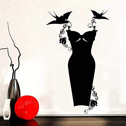 HANZHAO Calcomanía de Vinilo para Pared, Tienda de Vestido Negro, Ropa de Moda, Pegatina de Pared para Compras, decoración de Tienda, Mural Desmontable, Pegatina de Pared Grande 70X42CM