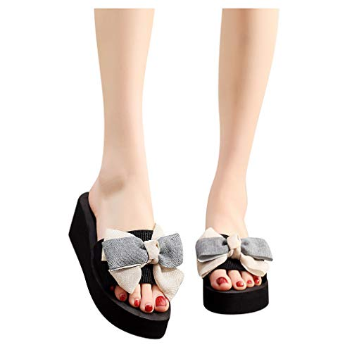 Buy Sunhusing Wedge Slippers Women Colorblock Bowknot Clip Toe Flip-Flop Breathable Open Toe Beach S...