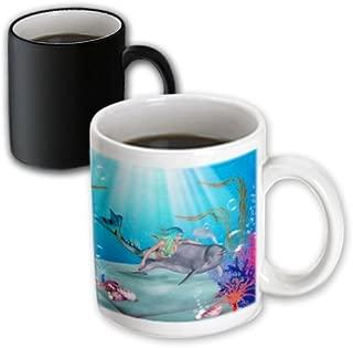 3dRose 172228_3 Mermaid Swims With A Dolphin Underwater Magic Transforming Mug, 11 oz, Black/White
