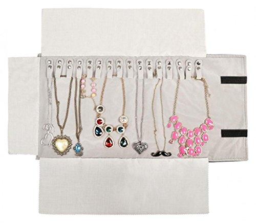 Wodison custodia organizer da viaggio per gioielli arrotolabile in velluto per anello, collana, orecchino for necklace