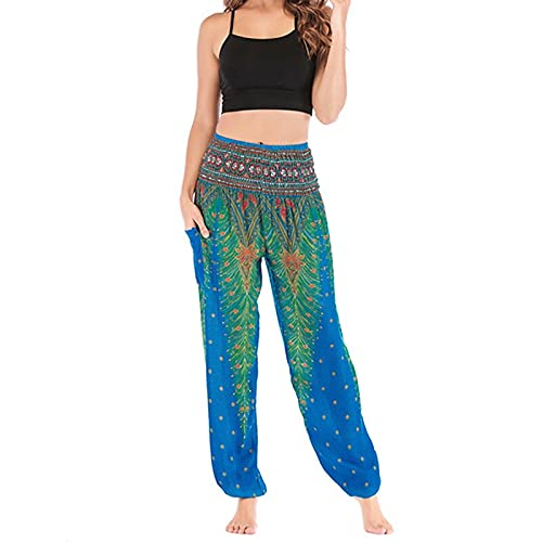 A/X Pantalones de Yoga de Cintura Alta para Mujer Pantalones Bombachos de Bolsillo Algodón Transpirable Pilates Deportes Elásticos Sueltos Casual