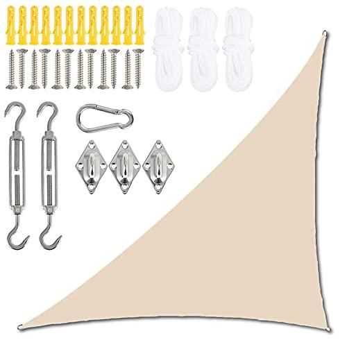 PYapron Toldo Vela de Sombra Ángulo Recto Triangular, Toldo Impermeable, Protección UV con Kit de Fijación y Cuerda para Fiesta en el Patio de la Terraza del Jardín al Aire Libre,Beige