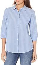 Amazon Essentials Women's Classic-Fit 3/4 Sleeve Poplin Shirt, Blue Stripe, Medium