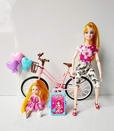 Radhey Preet Alia The Town Girl with her Younger Sister and Cycle Doll Set | Available in Multi-Color