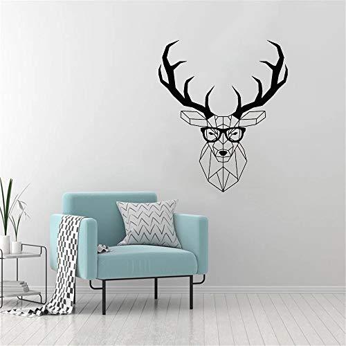 Pegatinas de pared de ciervo poligonal, pegatinas de vinilo para pared de cuernos de animales, sala de juegos para niños Hipster, dormitorio, sala de juegos