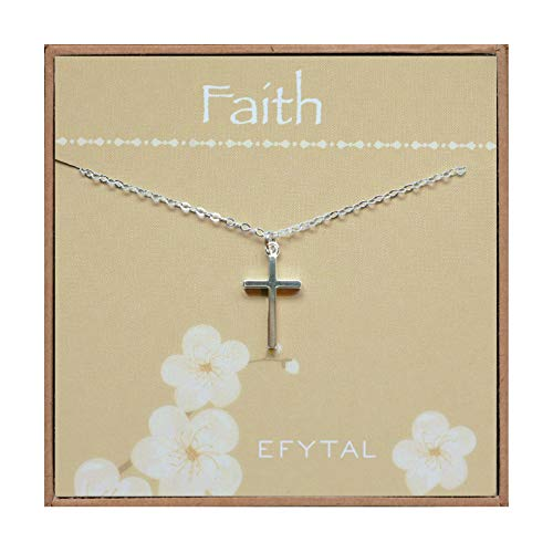 EFYTAL Small Cross Necklace for Women and Girls, Christian Gifts for Easter, First Communion, Confirmation, Baptism, Sterling Silver Dainty, Tiny Pendant Jewelry, Religious Gift for Catholic Birthday