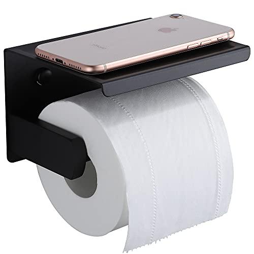 RUICER Porta Carta Igienica con Porta Cellulare - Portarotolo Carta Igienica da Parete Porta Rotolo Carta Igienica Adesivo Acciaio Inox, Nero