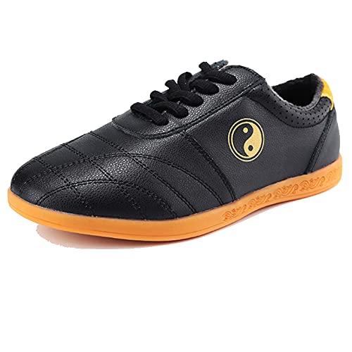 Zapatos de Artes Marciales Tai Chi para Hombres y Mujeres,Unisex Zapatos Invierno de Kung Fu Taekwondo,Suela Oxford Adulto Zapatillas de Entrenamiento Deporte para Boxeo, K(Size:44EU/13US,Color:negro)