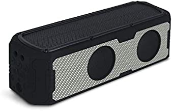 Solar Speaker - Solar Powered Portable Bluetooth Speaker with Carbon Fiber Exterior, 60 hrs Music Playtime, Phone/Tablet Charging Capability, Water Resistant Splash Proof by Reveal Shop (Silver)