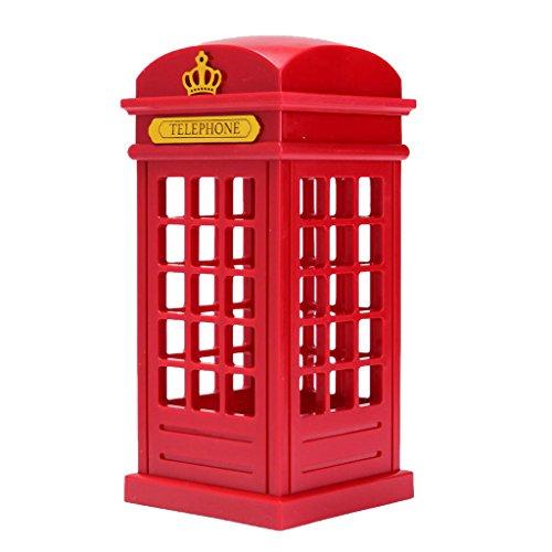 Baoblaze Lámpara de de Cabina Telefónica de Londres Rojo, Luz Nocturna, Luz de Cabecera con Interruptor Táctil, Ahorro de Energía
