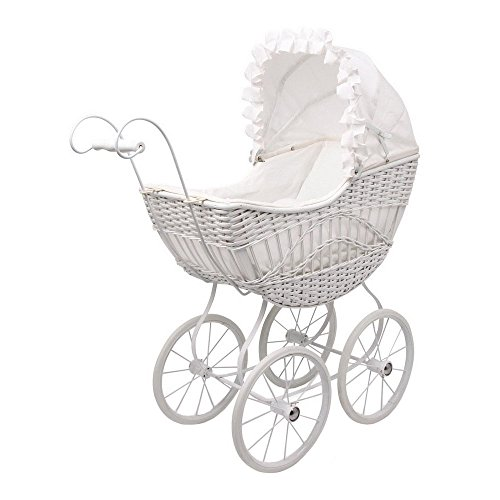 """Puppenwagen """"Evelin"""" aus Rattangeflecht, mit Metallgestell und Speichenrädern, wunderschönes Design in einem strahlenden Weiß, ein edler Wagen für alle Puppenmuttis ab 3 Jahren"""