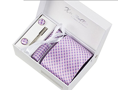 S.R HOME Carrés Violets Ensemble Cravate étanche d'homme, Mouchoir, épingle et boutons de manchette coffret cadeau